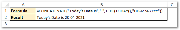CONCATENATE Text and Formula Result in Excel