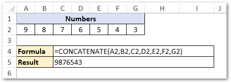 Joining Numbers in Excel Using CONCATENATE function