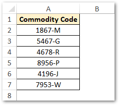 Commodity Code List - RIGHT Function