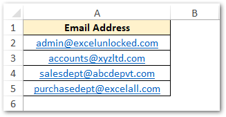 Email Address List in Excel