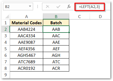Extract First Three Characters in Excel Text