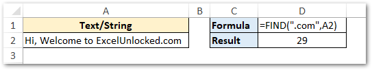 Find Position of Long Text in Excel