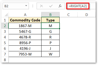 RIGHT Function Extract Character From End