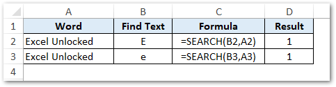 SEARCH Function Output