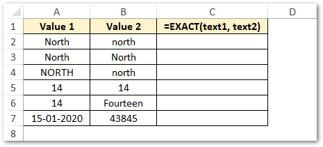 Sample Data - EXACT Excel Function Example