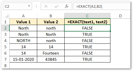 Using EXACT function in excel