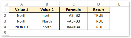 Using Equal To for Comparison in Excel