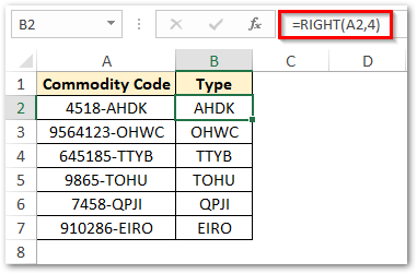Using RIGHT function Extract Characters from Right
