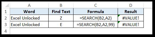 #VALUE error in SEARCH formula