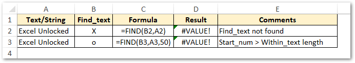 #VALUE error reason - FIND Excel function
