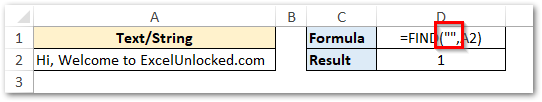 find_text as blank in FIND function