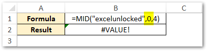 start_num value less than 1 - MID Function