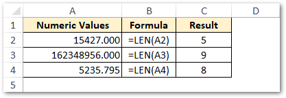 Counting Number of Digits in Excel Cell