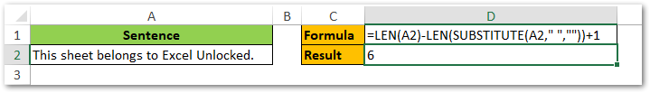 Finding Number of Words in Sentence in Excel