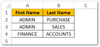 First Name and Last Names in excel