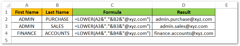 Generate Email Addresses in Excel