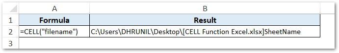 Get File Name and Path in Excel Cell