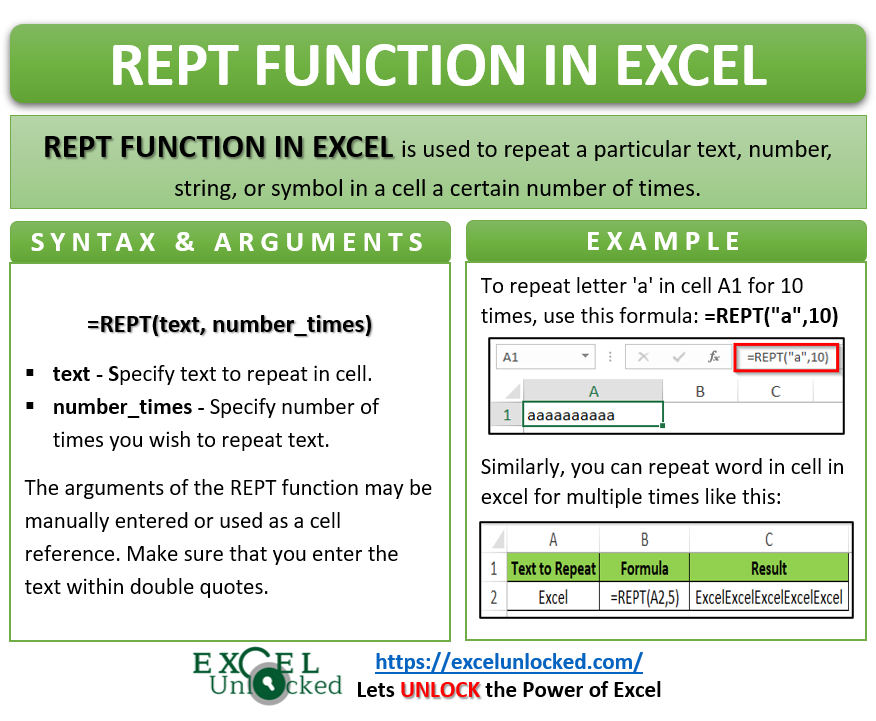 Infographic - REPT Formula Function in Excel