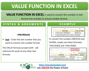 Infographic - VALUE Formula Function in Excel