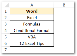 List of Words in Excel To Calculate Length