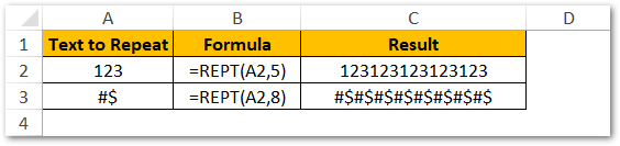 Repeat Numbers Symbols in Cell Excel Formula