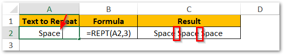 Repeat Text with Space in between