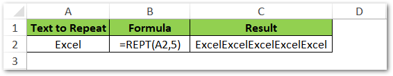 Repeat Word in Cell - REPT Function Excel