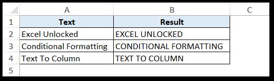 Result of UPPER Function Excel