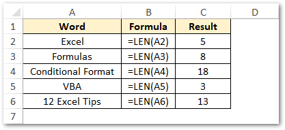 Using LEN Function in Excel - Basic Example