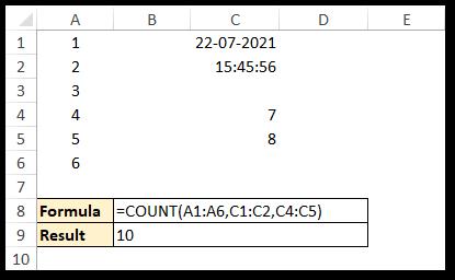 COUNT Numeric Cells Non Consecutive Cells