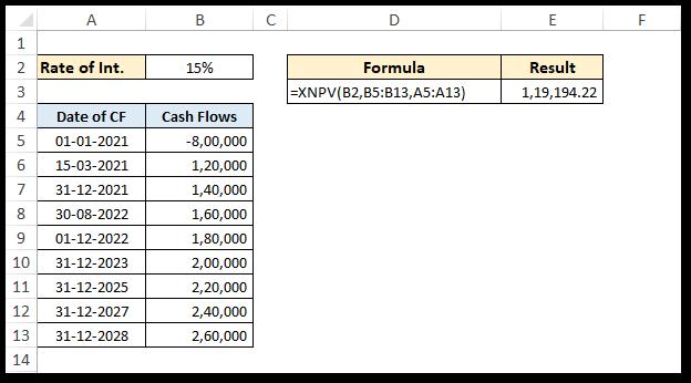 Calculation NPV using XNPV function