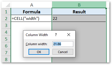 Column Width Using CELL Function Excel