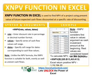 Infographic - XNPV Formula Function in Excel