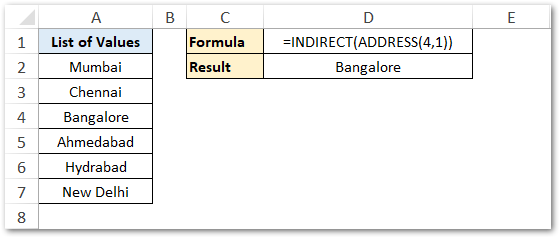 Using INDIRECT with ADDRESS Function Excel