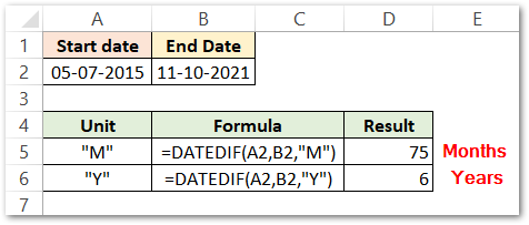 DATEDIF function in Excel MONTHS AND YEARS result