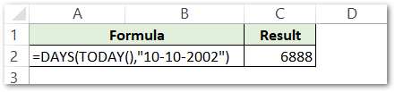 DAYS formula Passing the direct date with TODAY function of Excel