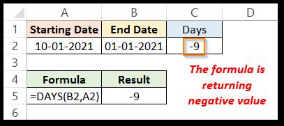 DAYS formula in excel returning negative value