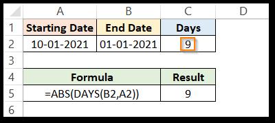DAYS formula in excel returning negative value result