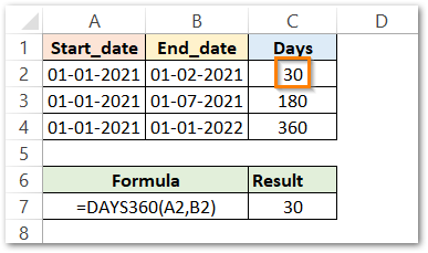 DAYS360 formula in Excel First Example result