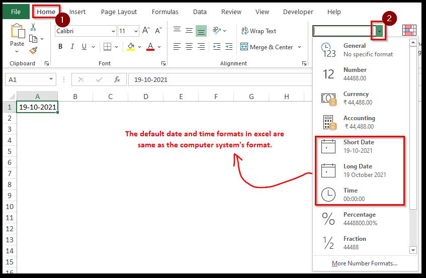 Default Date Time Format Excel