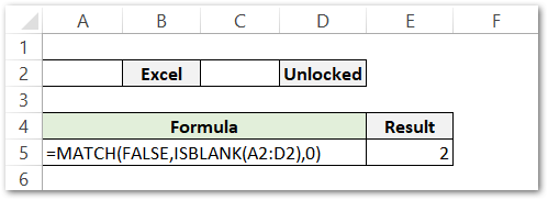 ISBLANK Function example 3 match function