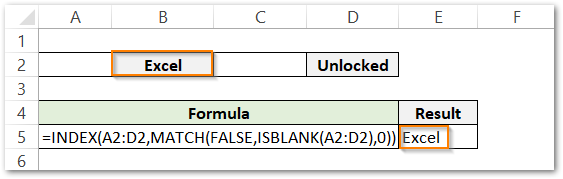 ISBLANK Function example 3 result