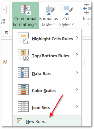 ISBLANK Function of Excel conditional formatting step 1