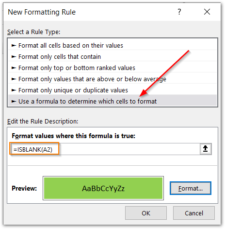ISBLANK Function of Excel conditional formatting step 2