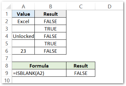 ISBLANK simplest function result