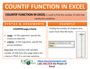 Infographic - COUNTIF Formula Function in Excel