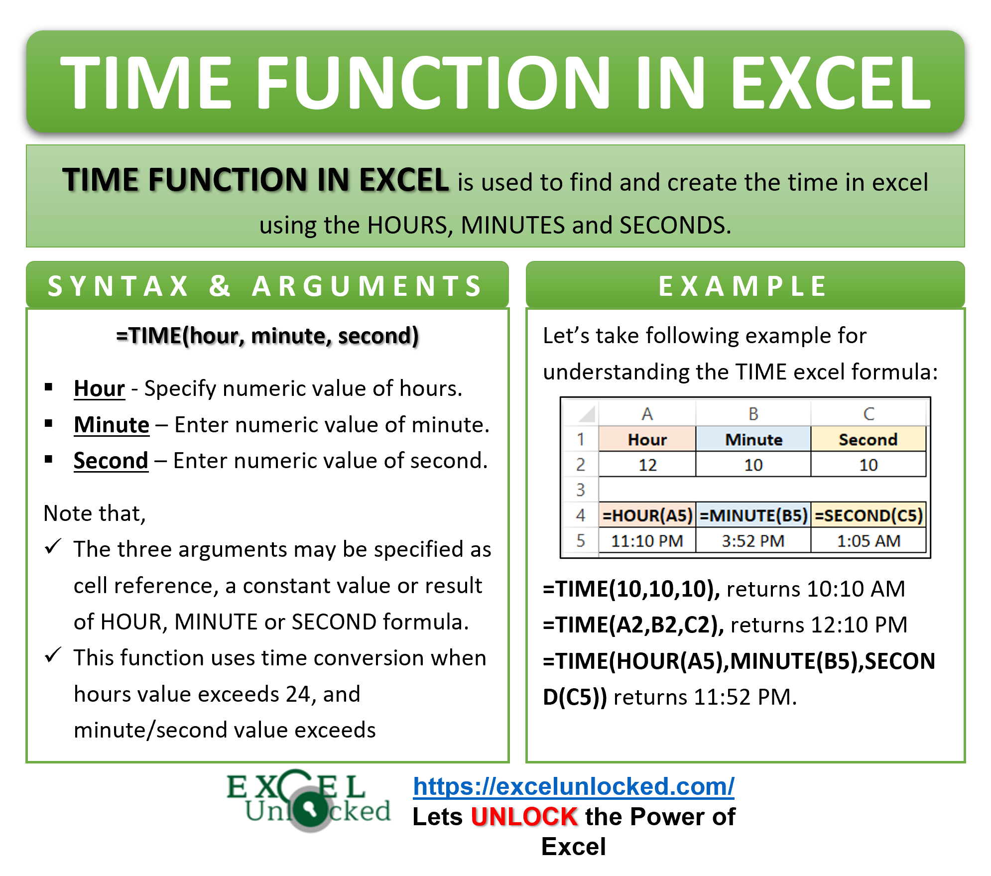 Infographic - TIME Formula Function in Excel
