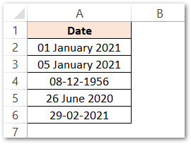 MONTH Function in Excel Example 1 raw data
