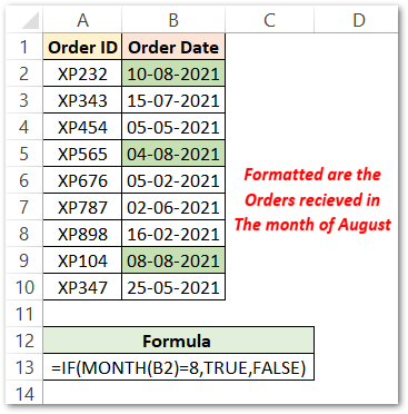 MONTH Function in Excel using conditional formatting result