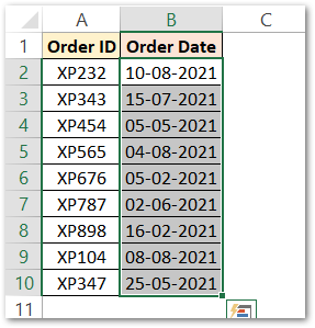 MONTH Function in Excel using conditional formatting step 1